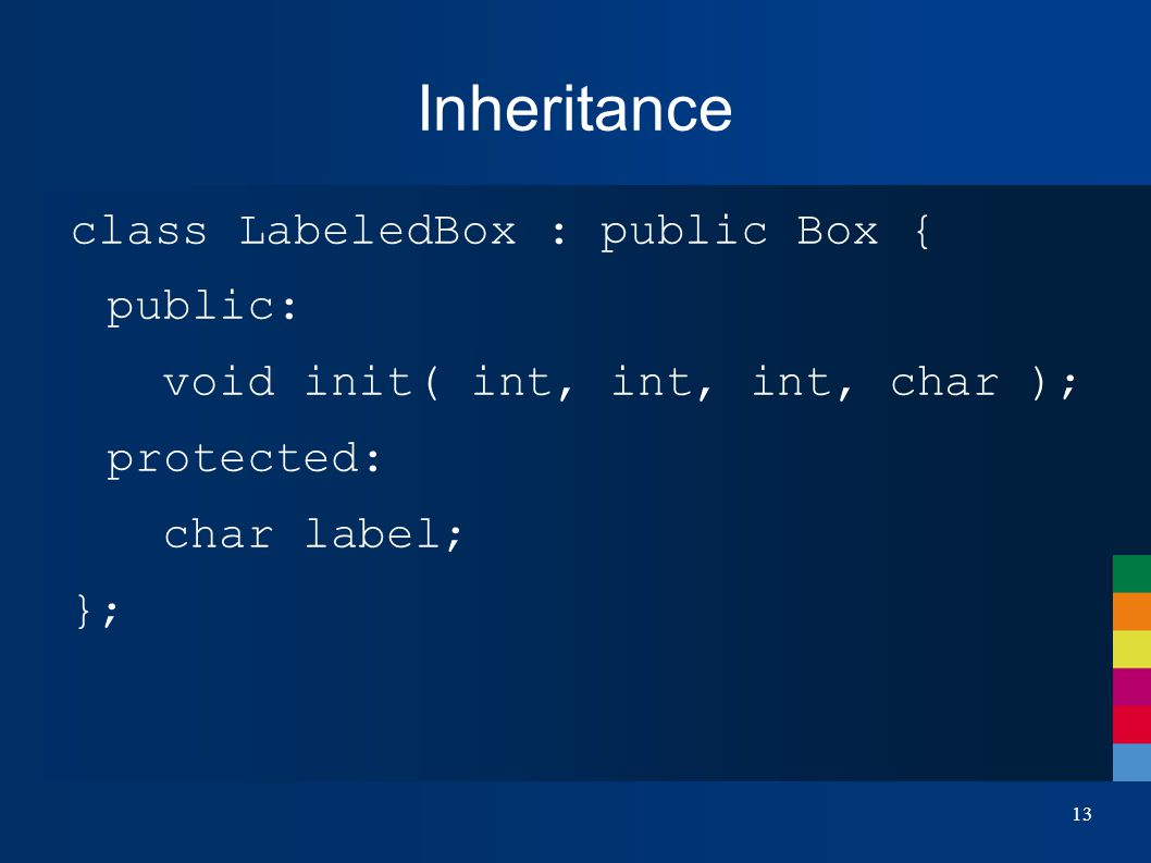 13 Inheritance class LabeledBox : public Box { public: void init( int, int, int, char ); protected: char label; };