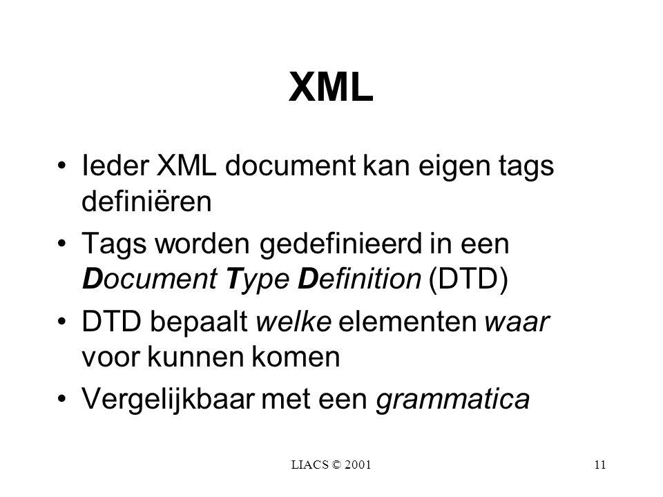 LIACS © 200111 XML Ieder XML document kan eigen tags definiëren Tags worden gedefinieerd in een Document Type Definition (DTD) DTD bepaalt welke eleme