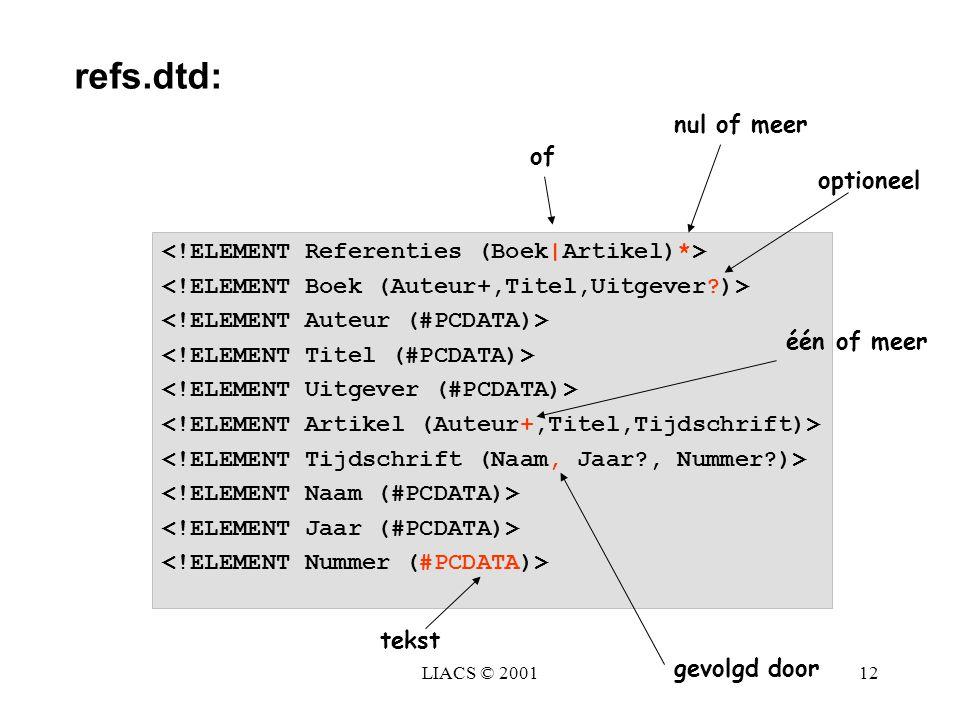 LIACS © 200112 één of meer nul of meer optioneel gevolgd door of tekst refs.dtd: