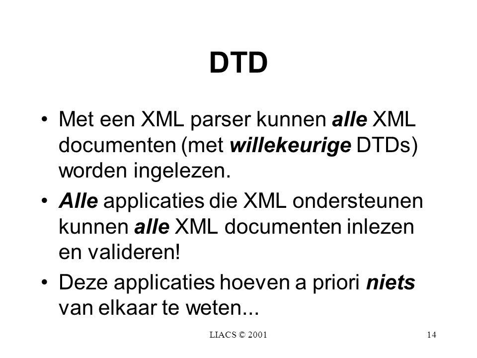 LIACS © 200114 DTD Met een XML parser kunnen alle XML documenten (met willekeurige DTDs) worden ingelezen. Alle applicaties die XML ondersteunen kunne