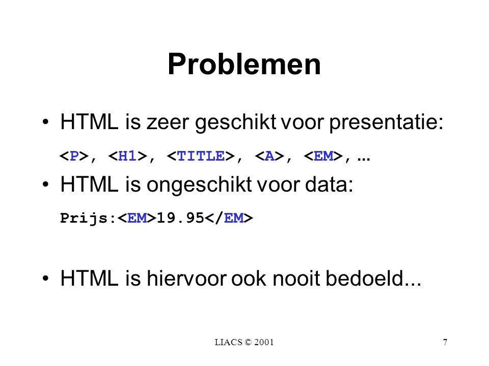 LIACS © 20017 Problemen HTML is zeer geschikt voor presentatie:,,,,,... HTML is ongeschikt voor data: Prijs: 19.95 HTML is hiervoor ook nooit bedoeld.