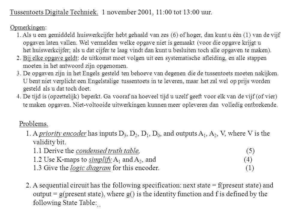 Tussentoets Digitale Techniek. 1 november 2001, 11:00 tot 13:00 uur. Opmerkingen: 1. Als u een gemiddeld huiswerkcijfer hebt gehaald van zes (6) of ho