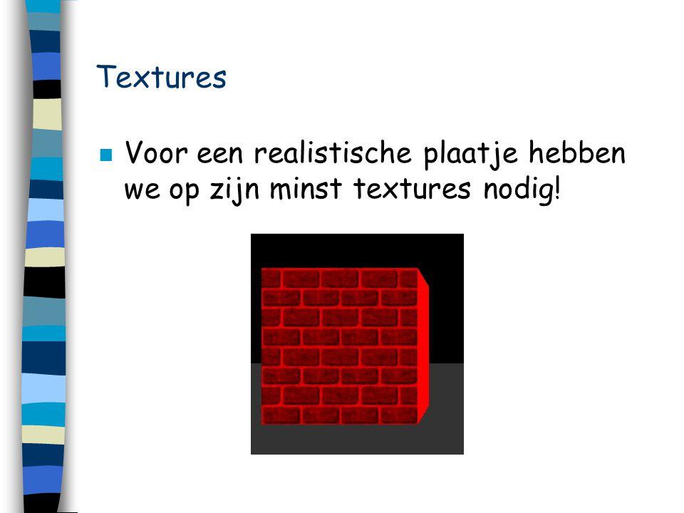 Textures n Voor een realistische plaatje hebben we op zijn minst textures nodig!