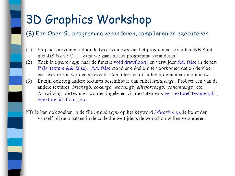 3D Graphics Workshop (C) Een 3D 'Stad' (1)Stop het programma (2)Voeg gebouwen toe door de volgende functie te gebruiken: drawbuilding(int x_offset, int z_offset, int color, int height, int width, int depth).