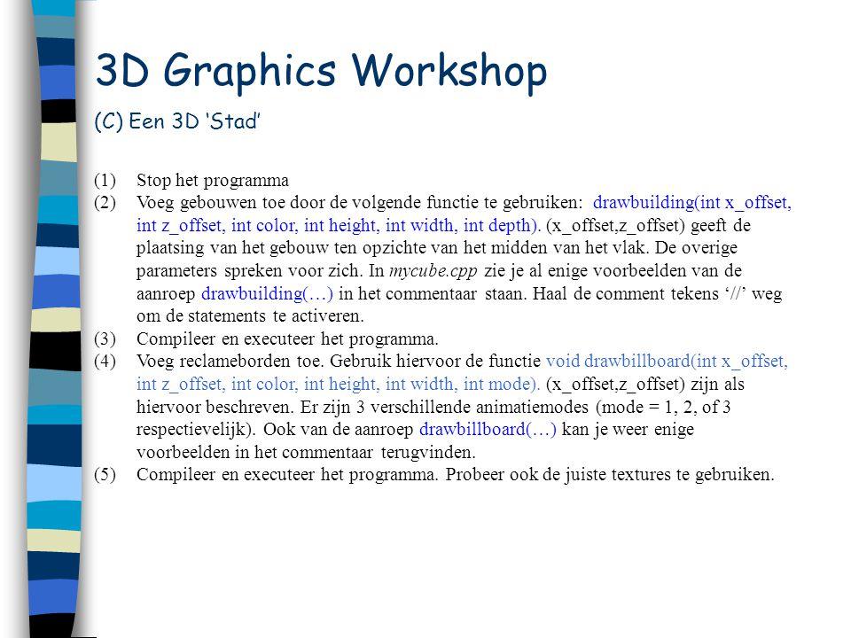 Workshop (D) 'Newave' (1)Sluit Visual C++ en blader nu naar de directory newave (2)Dubbelklik de file newave.dsw.