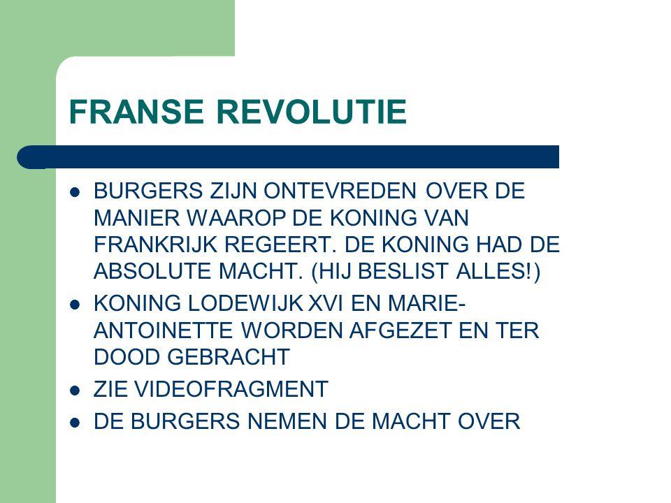 FRANSE REVOLUTIE BURGERS ZIJN ONTEVREDEN OVER DE MANIER WAAROP DE KONING VAN FRANKRIJK REGEERT.