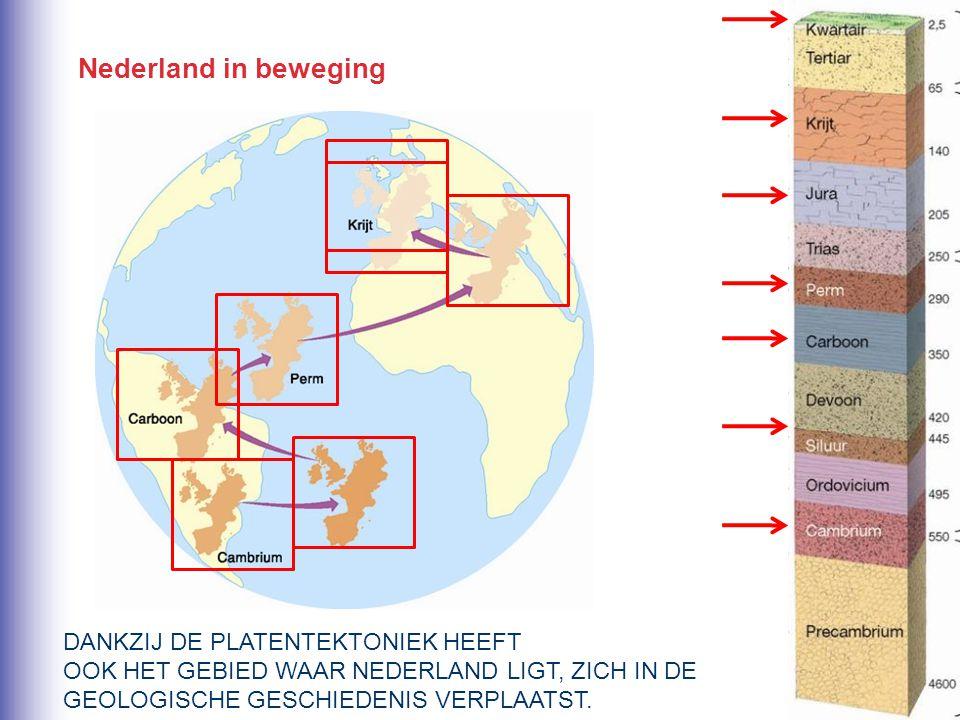 Nederland in beweging DANKZIJ DE PLATENTEKTONIEK HEEFT OOK HET GEBIED WAAR NEDERLAND LIGT, ZICH IN DE GEOLOGISCHE GESCHIEDENIS VERPLAATST.