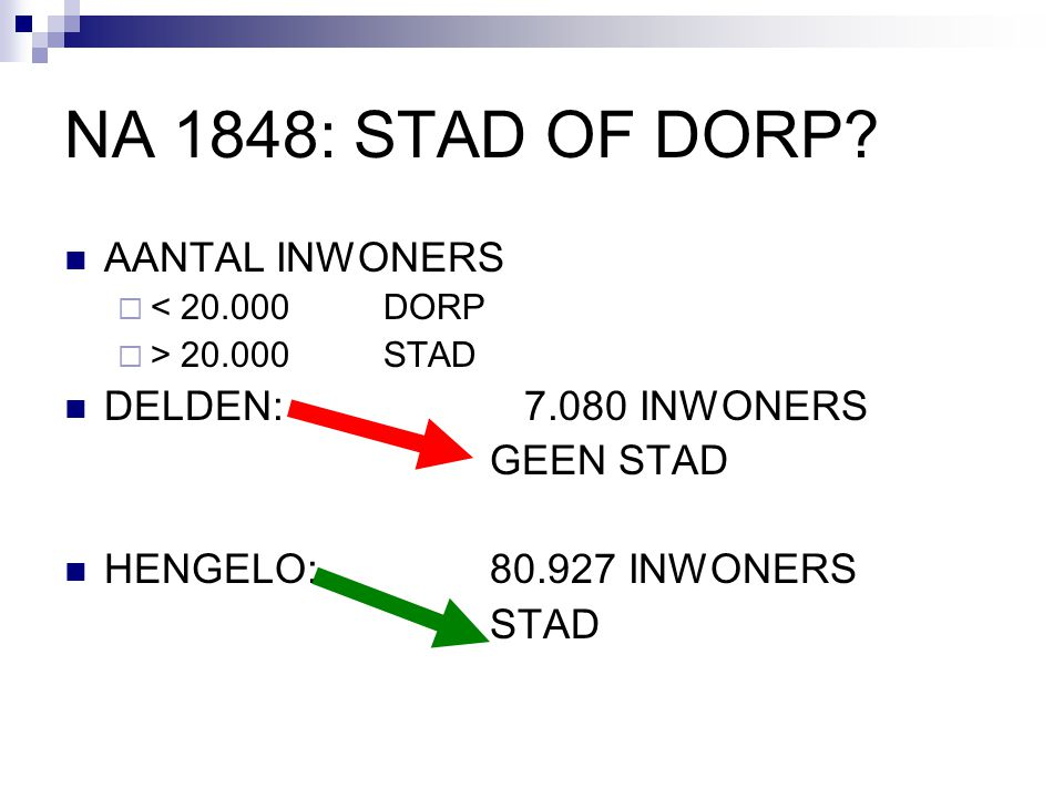 NA 1848: STAD OF DORP? AANTAL INWONERS  < 20.000 DORP  > 20.000 STAD DELDEN: 7.080 INWONERS GEEN STAD HENGELO: 80.927 INWONERS STAD