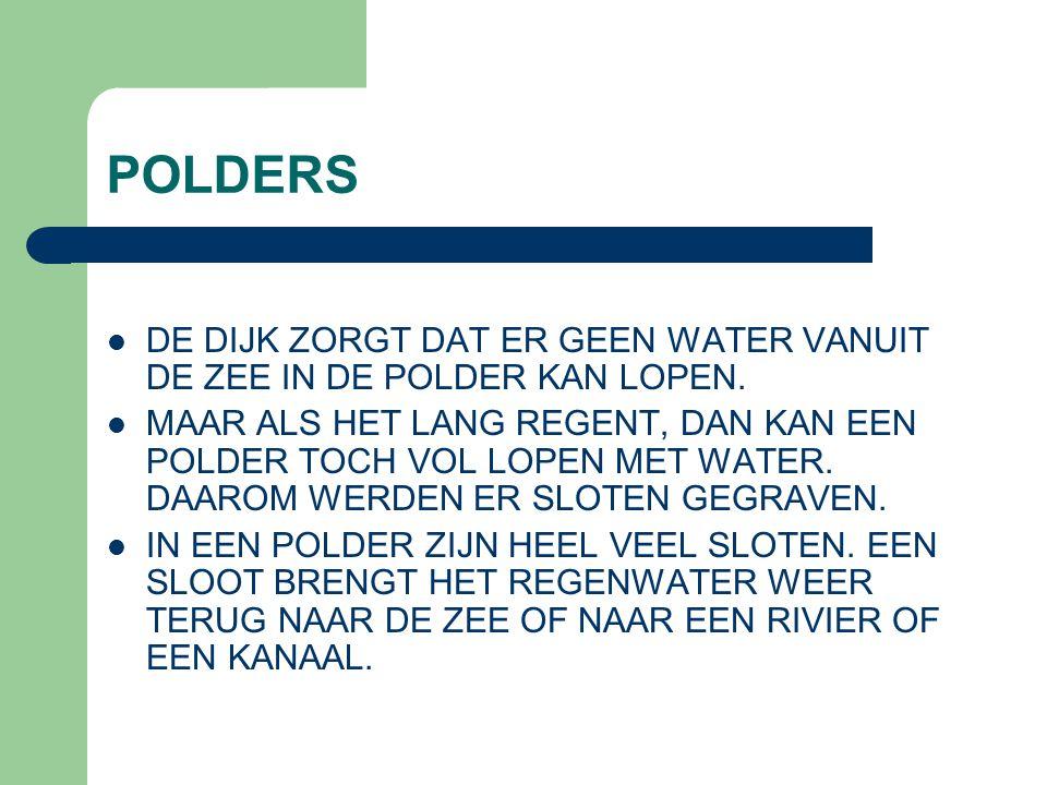 POLDERS DE DIJK ZORGT DAT ER GEEN WATER VANUIT DE ZEE IN DE POLDER KAN LOPEN. MAAR ALS HET LANG REGENT, DAN KAN EEN POLDER TOCH VOL LOPEN MET WATER. D