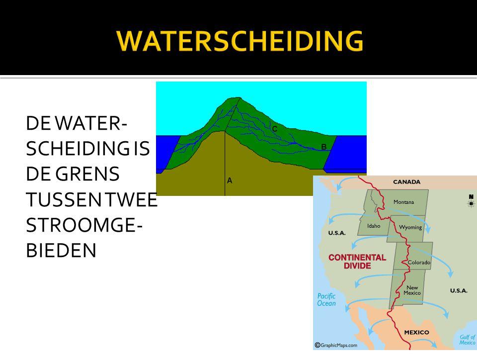 DE WATER- SCHEIDING IS DE GRENS TUSSEN TWEE STROOMGE- BIEDEN