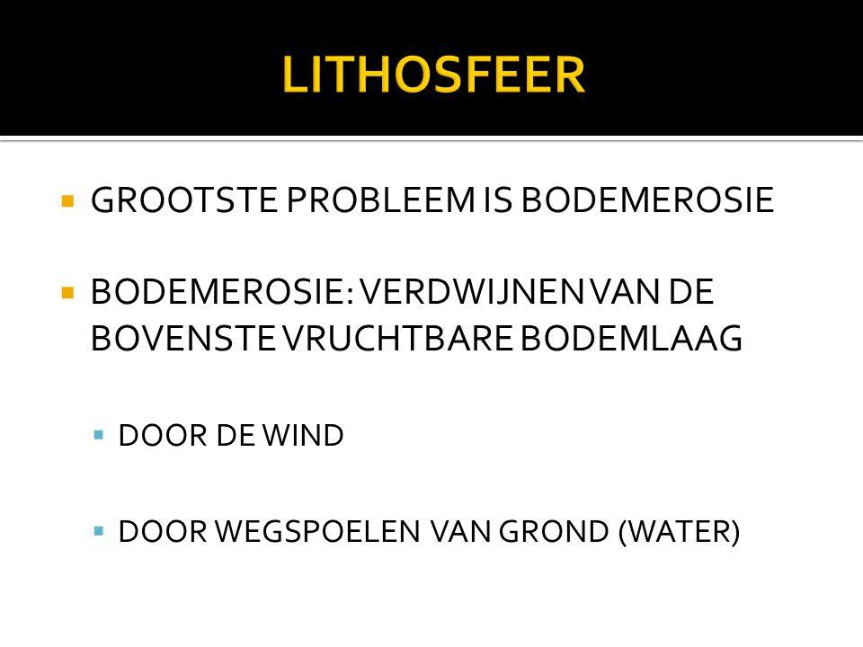  GROOTSTE PROBLEEM IS BODEMEROSIE  BODEMEROSIE: VERDWIJNEN VAN DE BOVENSTE VRUCHTBARE BODEMLAAG  DOOR DE WIND  DOOR WEGSPOELEN VAN GROND (WATER)