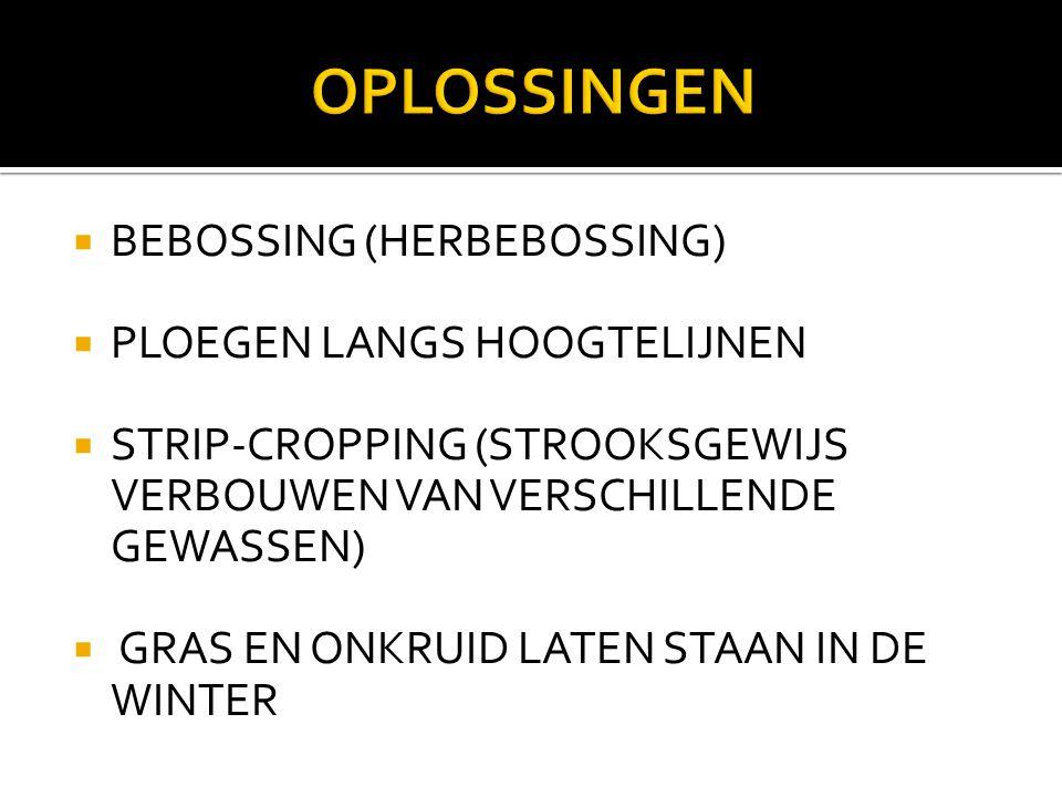  BEBOSSING (HERBEBOSSING)  PLOEGEN LANGS HOOGTELIJNEN  STRIP-CROPPING (STROOKSGEWIJS VERBOUWEN VAN VERSCHILLENDE GEWASSEN)  GRAS EN ONKRUID LATEN