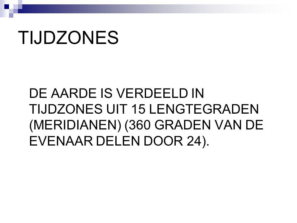 TIJDZONES DE AARDE IS VERDEELD IN TIJDZONES UIT 15 LENGTEGRADEN (MERIDIANEN) (360 GRADEN VAN DE EVENAAR DELEN DOOR 24).