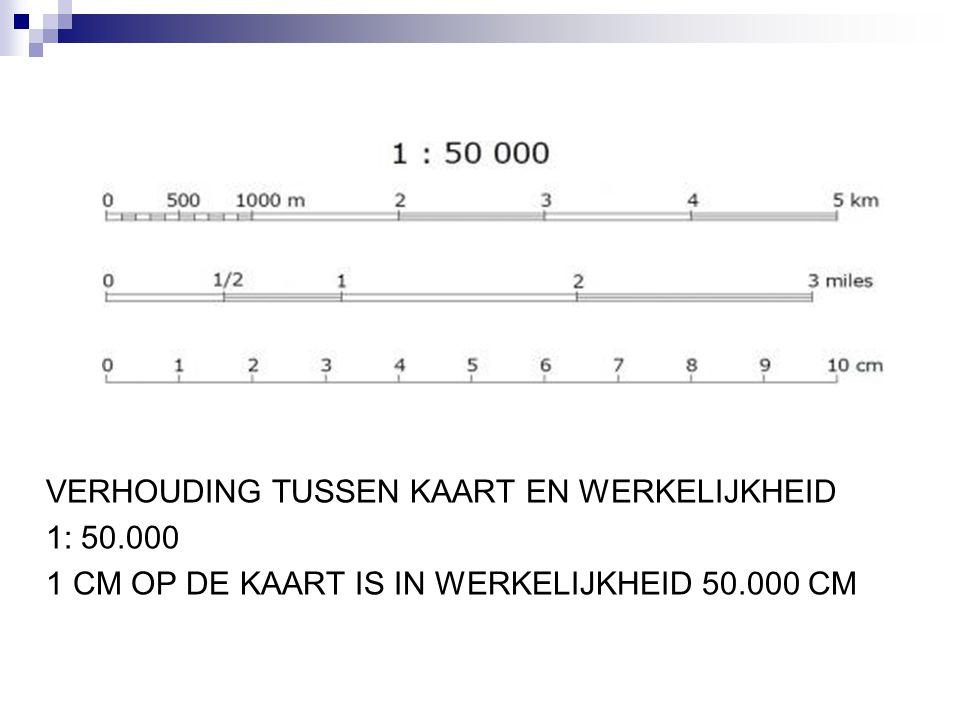 VERHOUDING TUSSEN KAART EN WERKELIJKHEID 1: 50.000 1 CM OP DE KAART IS IN WERKELIJKHEID 50.000 CM
