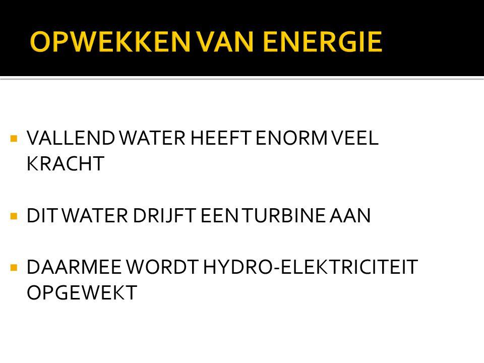  VALLEND WATER HEEFT ENORM VEEL KRACHT  DIT WATER DRIJFT EEN TURBINE AAN  DAARMEE WORDT HYDRO-ELEKTRICITEIT OPGEWEKT