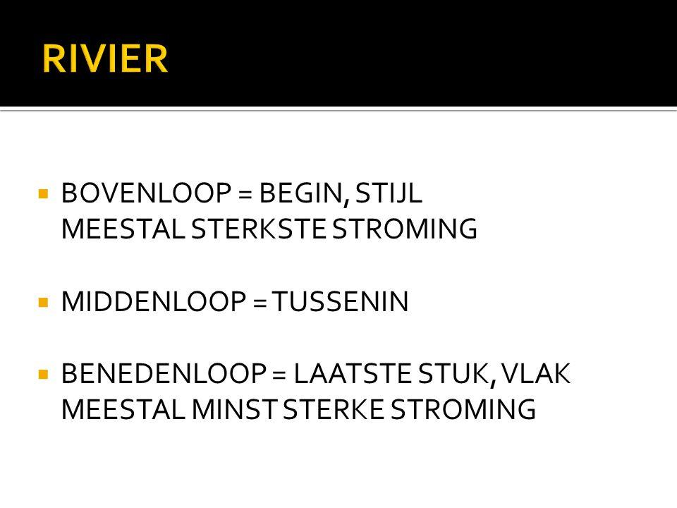 RIVIER  BOVENLOOP = BEGIN, STIJL MEESTAL STERKSTE STROMING  MIDDENLOOP = TUSSENIN  BENEDENLOOP = LAATSTE STUK, VLAK MEESTAL MINST STERKE STROMING