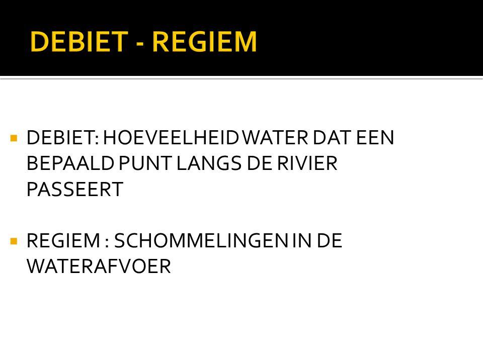 DEBIET - REGIEM  DEBIET: HOEVEELHEID WATER DAT EEN BEPAALD PUNT LANGS DE RIVIER PASSEERT  REGIEM : SCHOMMELINGEN IN DE WATERAFVOER