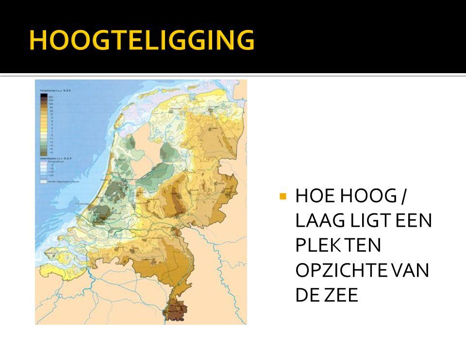  HOE HOOG / LAAG LIGT EEN PLEK TEN OPZICHTE VAN DE ZEE