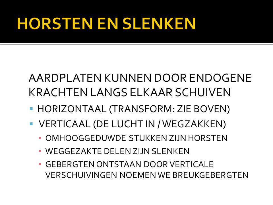 HORSTEN EN SLENKEN AARDPLATEN KUNNEN DOOR ENDOGENE KRACHTEN LANGS ELKAAR SCHUIVEN  HORIZONTAAL (TRANSFORM: ZIE BOVEN)  VERTICAAL (DE LUCHT IN / WEGZ