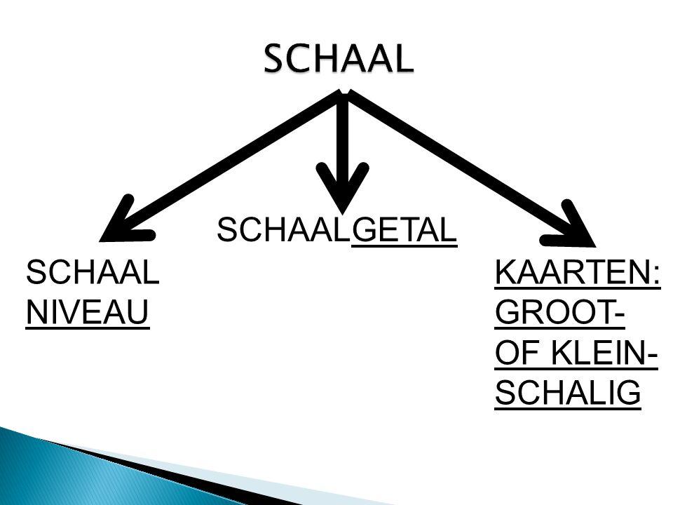 SCHAAL NIVEAU SCHAALGETAL KAARTEN: GROOT- OF KLEIN- SCHALIG