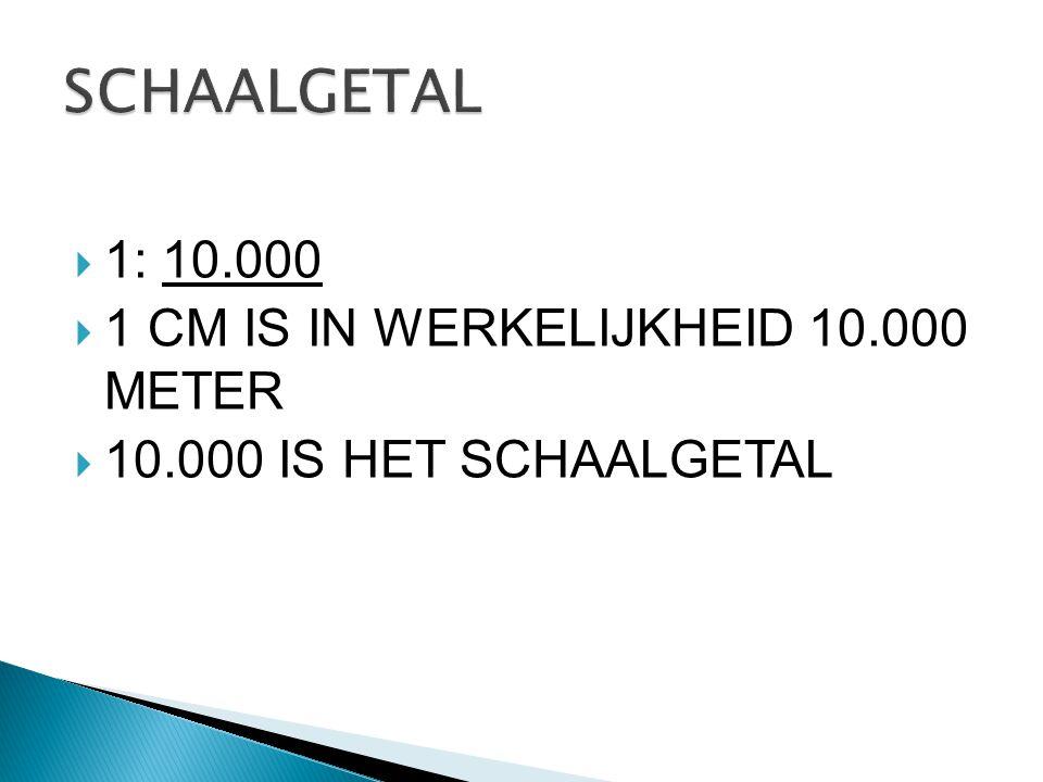  1: 10.000  1 CM IS IN WERKELIJKHEID 10.000 METER  10.000 IS HET SCHAALGETAL