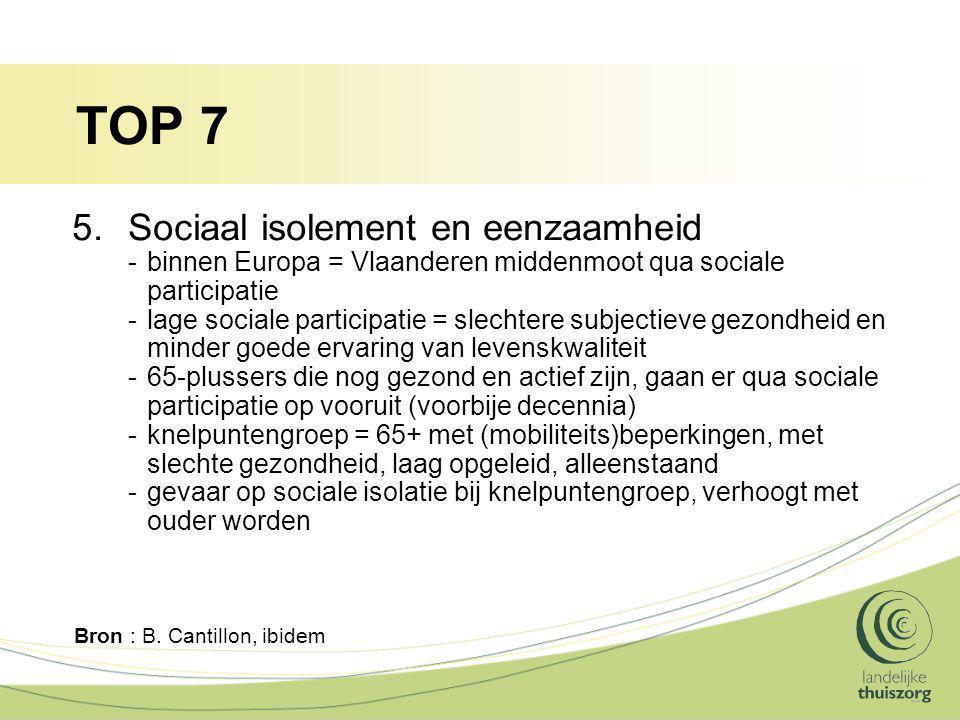 TOP 7 5.Sociaal isolement en eenzaamheid -binnen Europa = Vlaanderen middenmoot qua sociale participatie -lage sociale participatie = slechtere subjectieve gezondheid en minder goede ervaring van levenskwaliteit -65-plussers die nog gezond en actief zijn, gaan er qua sociale participatie op vooruit (voorbije decennia) -knelpuntengroep = 65+ met (mobiliteits)beperkingen, met slechte gezondheid, laag opgeleid, alleenstaand -gevaar op sociale isolatie bij knelpuntengroep, verhoogt met ouder worden Bron : B.