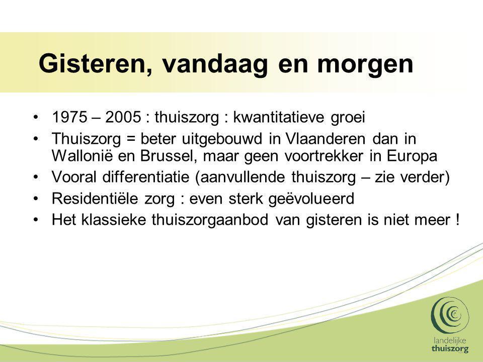 Gisteren, vandaag en morgen 1975 – 2005 : thuiszorg : kwantitatieve groei Thuiszorg = beter uitgebouwd in Vlaanderen dan in Wallonië en Brussel, maar geen voortrekker in Europa Vooral differentiatie (aanvullende thuiszorg – zie verder) Residentiële zorg : even sterk geëvolueerd Het klassieke thuiszorgaanbod van gisteren is niet meer !