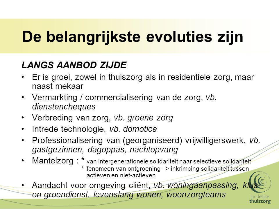 De belangrijkste evoluties zijn LANGS AANBOD ZIJDE Er is groei, zowel in thuiszorg als in residentiele zorg, maar naast mekaar Vermarkting / commercialisering van de zorg, vb.