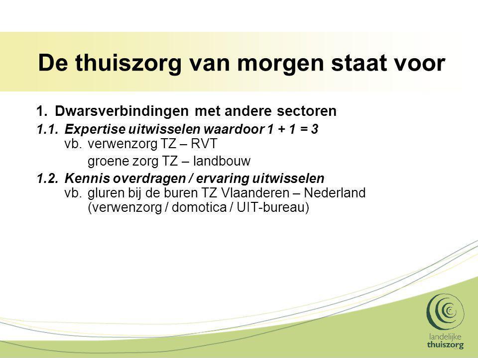 De thuiszorg van morgen staat voor 1.Dwarsverbindingen met andere sectoren 1.1.Expertise uitwisselen waardoor 1 + 1 = 3 vb.verwenzorg TZ – RVT groene zorg TZ – landbouw 1.2.Kennis overdragen / ervaring uitwisselen vb.gluren bij de buren TZ Vlaanderen – Nederland (verwenzorg / domotica / UIT-bureau)