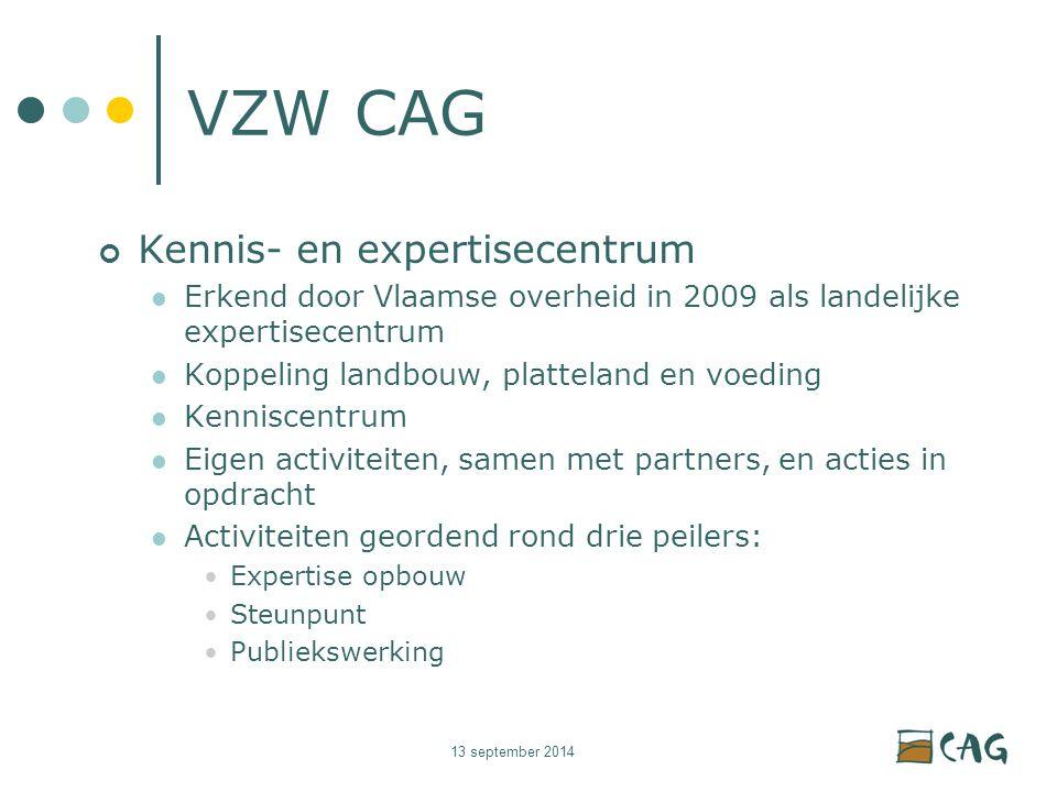 13 september 2014 VZW CAG Kennis- en expertisecentrum Erkend door Vlaamse overheid in 2009 als landelijke expertisecentrum Koppeling landbouw, platteland en voeding Kenniscentrum Eigen activiteiten, samen met partners, en acties in opdracht Activiteiten geordend rond drie peilers: Expertise opbouw Steunpunt Publiekswerking