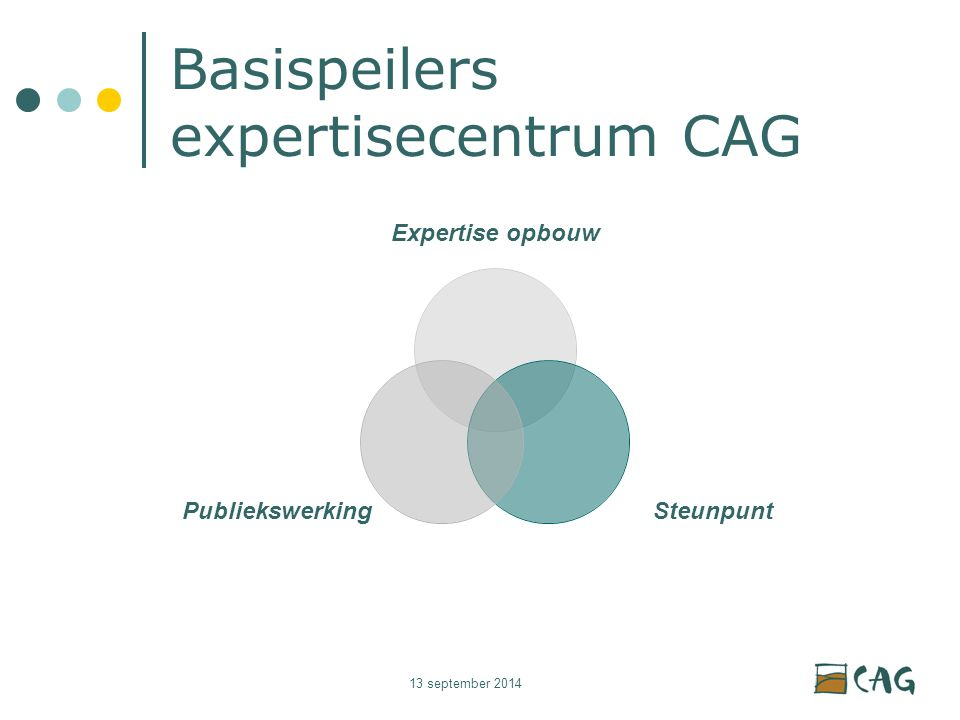 13 september 2014 Basispeilers expertisecentrum CAG Expertise opbouw SteunpuntPubliekswerking