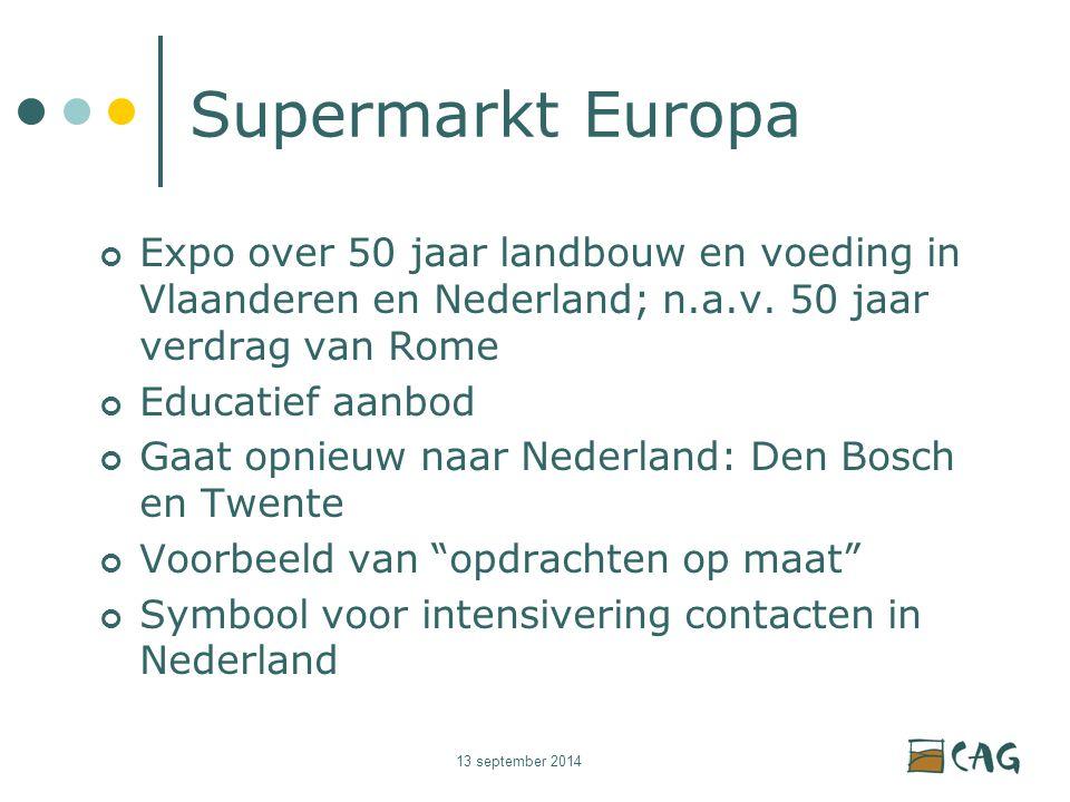 13 september 2014 Supermarkt Europa Expo over 50 jaar landbouw en voeding in Vlaanderen en Nederland; n.a.v.