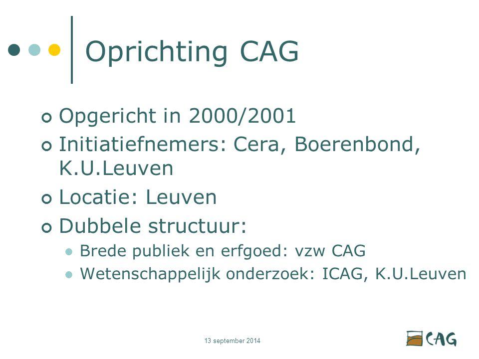 13 september 2014 Oprichting CAG Opgericht in 2000/2001 Initiatiefnemers: Cera, Boerenbond, K.U.Leuven Locatie: Leuven Dubbele structuur: Brede publiek en erfgoed: vzw CAG Wetenschappelijk onderzoek: ICAG, K.U.Leuven