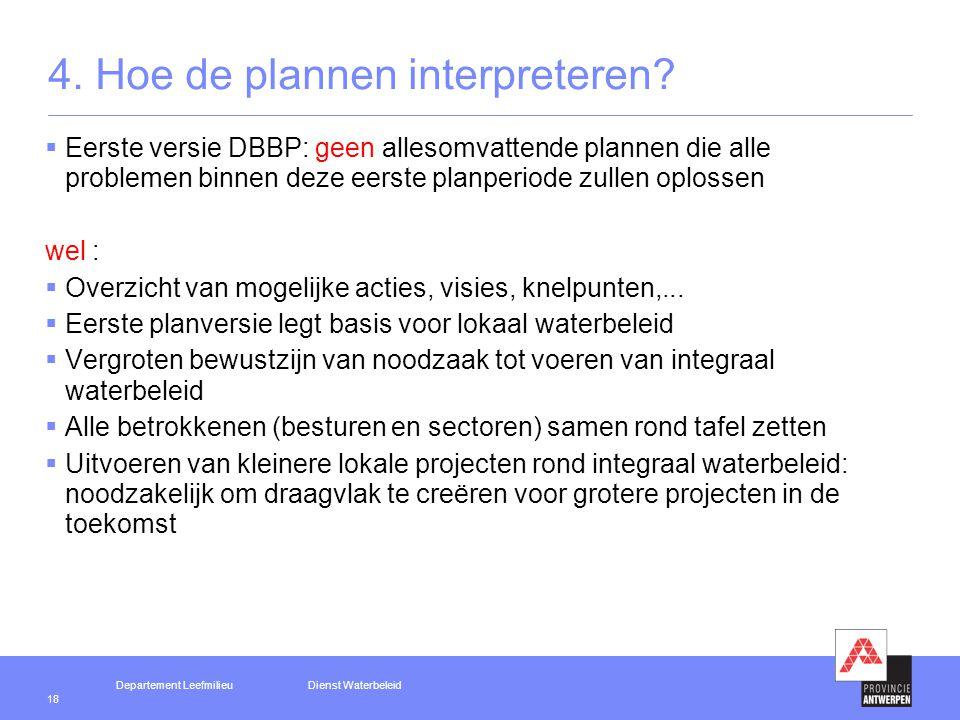Departement LeefmilieuDienst Waterbeleid 18 4. Hoe de plannen interpreteren.
