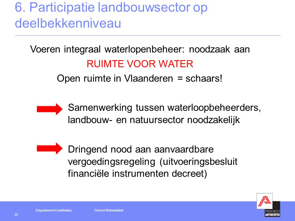 Departement LeefmilieuDienst Waterbeleid 22 6.