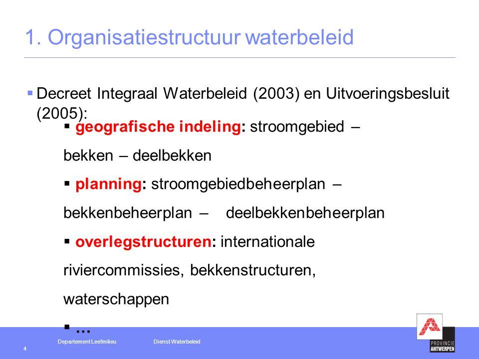 Departement LeefmilieuDienst Waterbeleid 4 1.