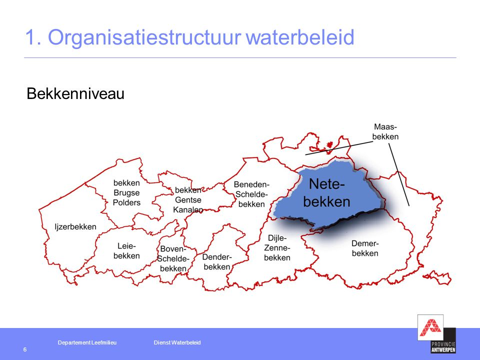 Departement LeefmilieuDienst Waterbeleid 7 1. Organisatiestructuur waterbeleid Deelbekkenniveau