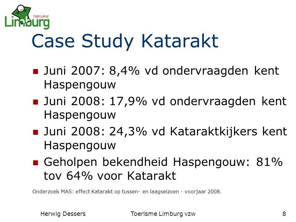 Herwig DessersToerisme Limburg vzw8 Case Study Katarakt Juni 2007: 8,4% vd ondervraagden kent Haspengouw Juni 2008: 17,9% vd ondervraagden kent Haspengouw Juni 2008: 24,3% vd Kataraktkijkers kent Haspengouw Geholpen bekendheid Haspengouw: 81% tov 64% voor Katarakt Onderzoek MAS: effect Katarakt op tussen- en laagseizoen - voorjaar 2008.