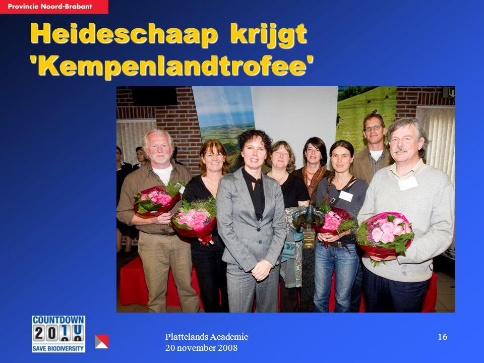 16Plattelands Academie 20 november 2008 Heideschaap krijgt Kempenlandtrofee