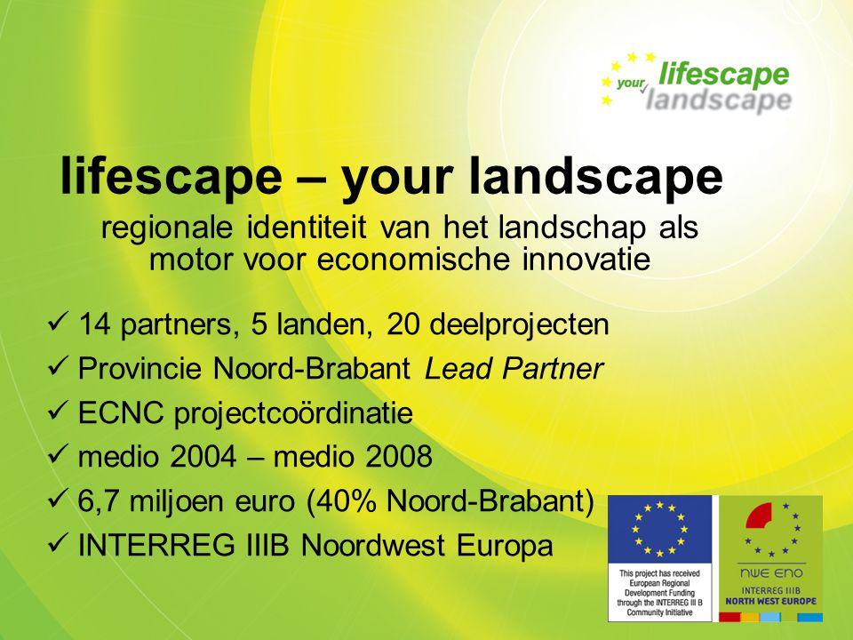 14 partners, 5 landen, 20 deelprojecten Provincie Noord-Brabant Lead Partner ECNC projectcoördinatie medio 2004 – medio 2008 6,7 miljoen euro (40% Noord-Brabant) INTERREG IIIB Noordwest Europa lifescape – your landscape regionale identiteit van het landschap als motor voor economische innovatie