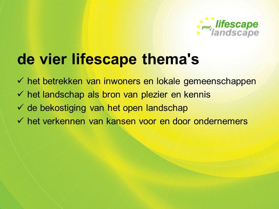 de vier lifescape thema s het betrekken van inwoners en lokale gemeenschappen het landschap als bron van plezier en kennis de bekostiging van het open landschap het verkennen van kansen voor en door ondernemers