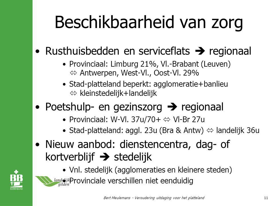 Beschikbaarheid van zorg Rusthuisbedden en serviceflats  regionaal Provinciaal: Limburg 21%, Vl.-Brabant (Leuven)  Antwerpen, West-Vl., Oost-Vl.