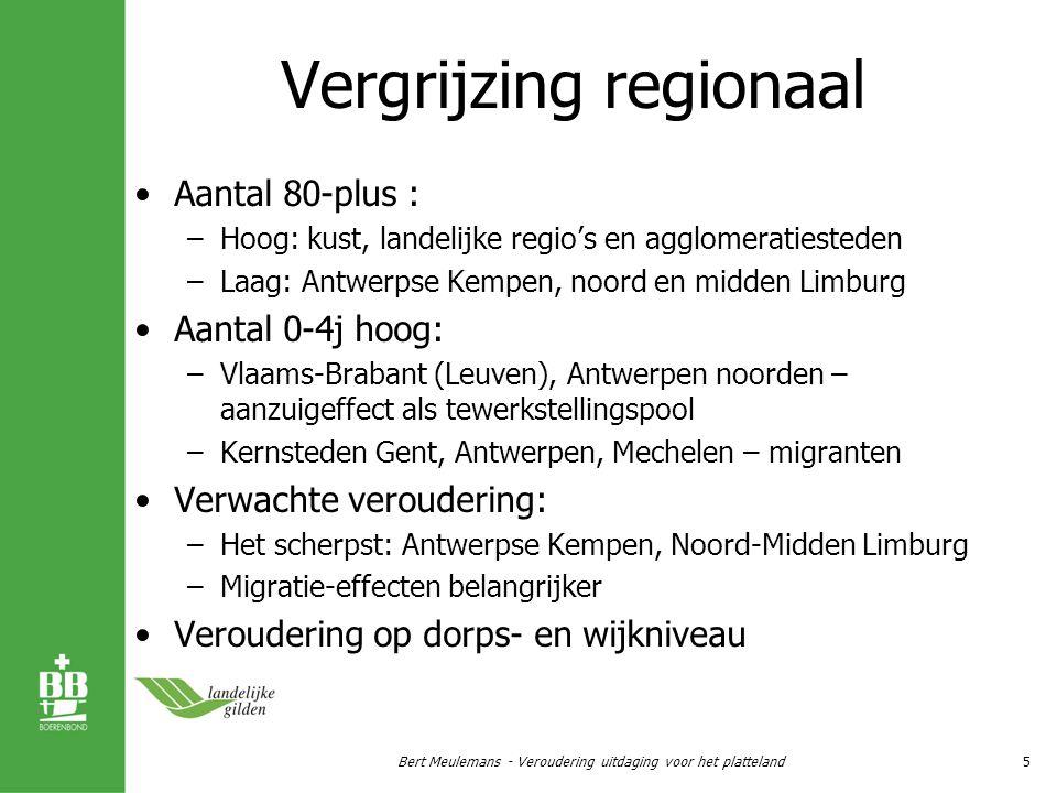Financiële draagkracht voor zorg Armoede niet uitsluitend stedelijk –Stedelijk: laag inkomen – hoge huur – bejaard / migrant –Platteland: laag inkomen – slecht huisvesting – (hoog)bejaard Lokaal belastingsvermogen –Belastingsopbrengst per hoofd aanvullende personenbelasting (AVP) 7% onroerende voorheffing (OPC) 1250 –Landelijke regio's  residentiële rand Bert Meulemans - Veroudering uitdaging voor het platteland16