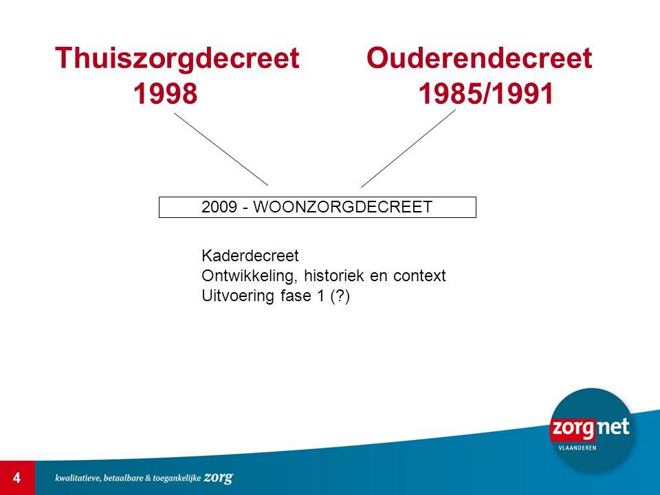 4 ThuiszorgdecreetOuderendecreet 1998 1985/1991 2009 - WOONZORGDECREET Kaderdecreet Ontwikkeling, historiek en context Uitvoering fase 1 (?)