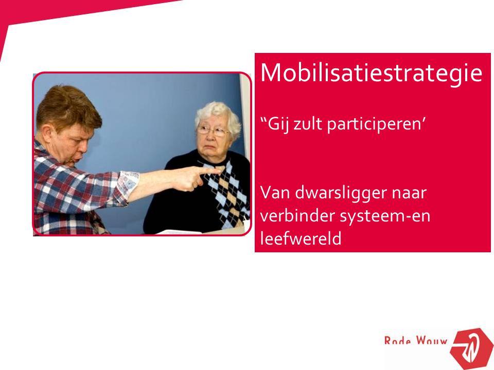 """Mobilisatiestrategie """"Gij zult participeren' Van dwarsligger naar verbinder systeem-en leefwereld"""