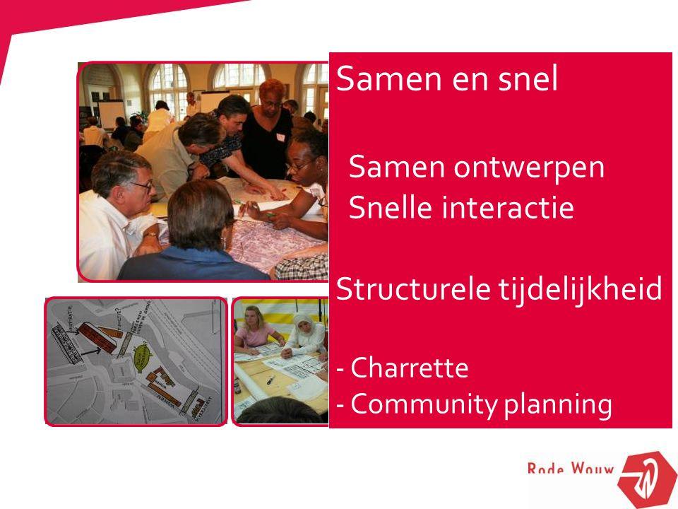 Samen en snel Samen ontwerpen Snelle interactie Structurele tijdelijkheid - Charrette - Community planning