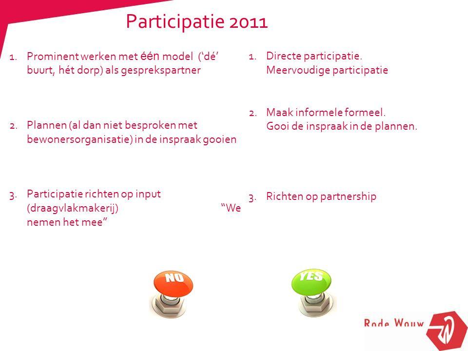Participatie 2011 1.Prominent werken met één model ('dé' buurt, hét dorp) als gesprekspartner 2.Plannen (al dan niet besproken met bewonersorganisatie