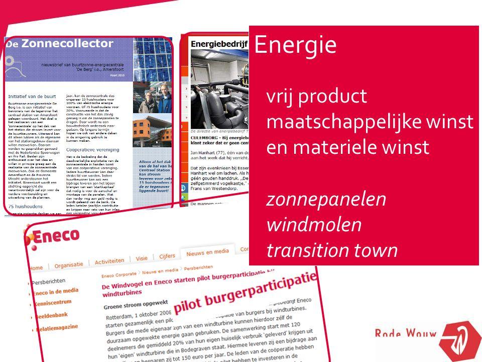 Energie vrij product maatschappelijke winst en materiele winst zonnepanelen windmolen transition town