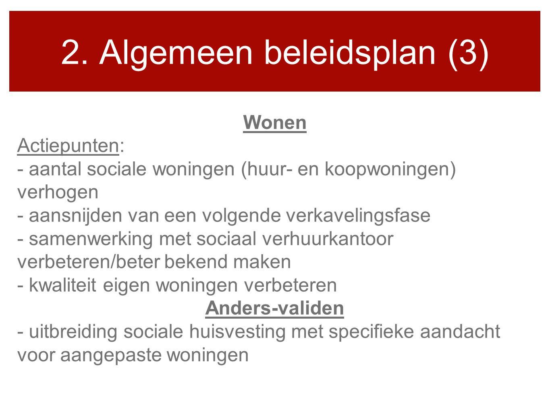 2. Algemeen beleidsplan (3) Wonen Actiepunten: - aantal sociale woningen (huur- en koopwoningen) verhogen - aansnijden van een volgende verkavelingsfa