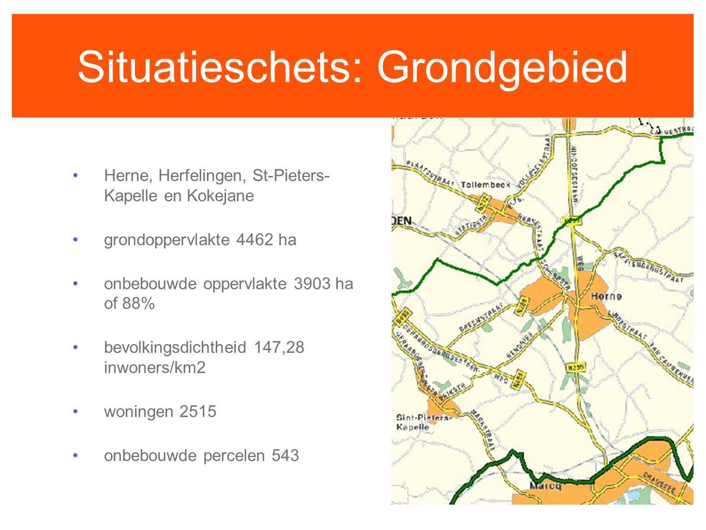 Situatieschets: Grondgebied Herne, Herfelingen, St-Pieters- Kapelle en Kokejane grondoppervlakte 4462 ha onbebouwde oppervlakte 3903 ha of 88% bevolki